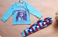 Unisex Spring / Autumn Long New Design 2014 frozen baby girls clothing sets children kids boys summer pajamas child Anna Elsa princess clothes