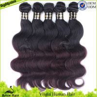 Colored Two Tone Hair Weave 1B# & 99J# Grade 5A 3PC Ombr...