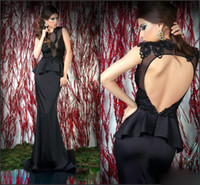 Model Pictures Crew Satin 2014 High Quality Sexy Black Satin Lace Applique Cap Sleeves Backless Tight Sheath Formal Party Evening Gowns 2014 Prom Dresses