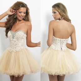Wholesale 2015 Lovely Short Homecoming Dresses Sweetheart Strapless Crystal Lace Tulle Mini Length Champagne Prom Party Dresses Corset Lace Up