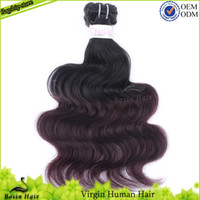 Colored Two Tone Human Hair 1B# & 99J# Grade 5A 3PC Braz...