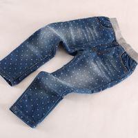 Jeans elastic cord - New Cotton Little Star Print Casual Denim Pants Drawstring Kids Elastic Cord Jeans Kids Wear SZ0035