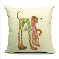 Wholesale fresh style Animal totem pattern dog theme thick cotton and lien mordern minimalist office pillow case home sofa car cushion case cm