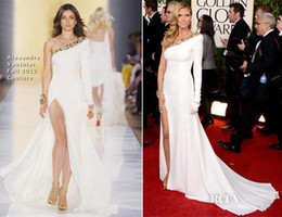 Wholesale 2014 Heidi Klum Golden Globe Awards Celebrity Dresses White Gold Sequins Slit Single Long Sleeve Red Carpet Prom Formal Evening Gowns Oscar