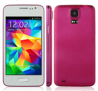 Wholesale 2014 New Arrival inch Mini S5 I9600 G9000 Dual Sim Dual Standby MTK6572 Dual Core Android Phone Free gifts Rose