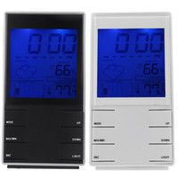 Mechanical Alarm Clocks 40 mm LCD Indoor Digital Humidity Temperature Calendar Alarm Weather Forecast Station with Clock Light Black White Table Atmos Clocks