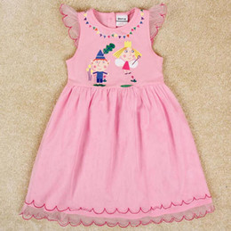 Wholesale baby girl party dress cartoon Ben and Hollys Little Kingdom tulle lace dress pink princess dress nova summer dresses kids clothes H4938