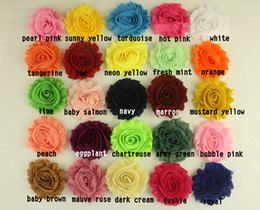 Wholesale 2 quot Solid artificial shabby frayed chiffon flower sewing apparel headwear hair accessories yards colors