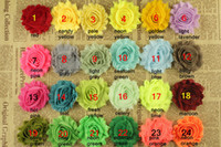 Wholesale 2 quot Solid artificial shabby chiffon rose flower trim children kids girl hair sewing accessories yards colors