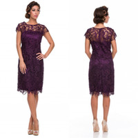 Wholesale 2014 High Quality Illusion Grape High Neck Sheer Lace Knee length Mother Of the Bride Dresses Backless Cap Sleeves A line Short Party Formal