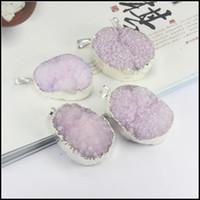 Wholesale 4pcs k Silver plated Edge Quartz Purple Nature Druzy Drusy stone beads gem stone pendant crystal Beads Jewelry findings