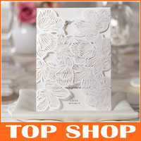 2014 NEW Lace Hollow White Wedding Invitations Vertical Sect...