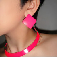 Wholesale And Retail Hot Selling Fashion Multi Color Neon Paint Square Oversized Initial Earrings Studs Fashion Jewelry
