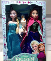 Wholesale Retail Movie Frozen Plastic dolls Princess Elsa Anna with OLaf play set figure toys Fashion Toy with Box