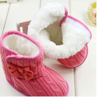 Wholesale Winter Baby Boots Wool Fleece Keep Warm Fastener Toddler Tall Boots Infant Snow First Walker Shoes Kid Bowknot Woolen Yam Fur Knit Shoes