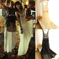 Casual Dresses V_Neck A Line Dropshipping 2014 New Women Sexy Lace Sheer Boho Beach Maxi Dress Sleeveless Pleated Long Sundress 2 Colors #6 SV004511