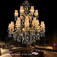 Wholesale Bronze Finish Antique Luxurious Large Crystal Chandelier Lamp Light Lighting Fixture tiers Brass Color with lights