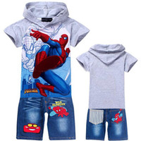 Boy jeans lot - children clothing sets boys short sleeve hoodies jeans pants boy cartoon Spiderman Children outfits suits sets