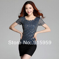 Wholesale Bling Golden Sequin Top Summer Plus Size Female Clothing Sequins Womens Fashion New Designer Mesh T shirt Tees Big S XX