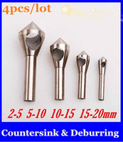 Wholesale 4pcs Countersink Deburring Bits mm mm mm mm Tool Set Expanding Drill Step Drill Bit new