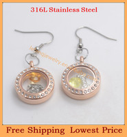Couple Rings Women's Stainless Steel Free shipping,new 2014 DIY 20mm round rose gold crystal floating glass locket earrings,wholesale lockets charm drop dangles L7