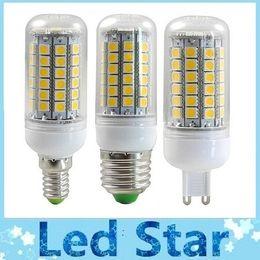 Acheter en ligne E27 ce smd-CE ROHS + Hot Sale 15W 1400 Lumens Led Lights GU10 E27 E14 G9 AC 220-240V Lampes à LED Lampe à maïs 360 Angle Pure / Warm White 69 SMD 5050