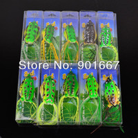 Yes Lure Proberos Wholesale - 2013 High Quality Fishing Bait 100pc lot soft bait 10 colors fishing lures Mixed Weight Size Frog Lure Soft lures fee shipping