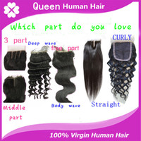 wave straight curly  outlet brazilian hair - Top Brazilian Bleached Knots Lace closure Remy Brazilian Virgin Human Hair lace Closure DHL Factory outlet price
