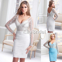 Reference Images V-Neck Chiffon Attractive Sexy Sheath Short Mini White Aqua Chiffon V-Neck Sheer Long Sleeve Crystal Beading New Arrival Prom Dress C1714
