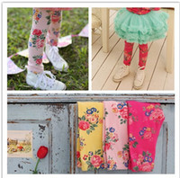 Leggings & Tights baby girl vintage clothes - Kids Girls Print Floral Tights Leggings Baby girl Vintage Cotton Flower Stretchy Tight pants babies korean clothes