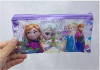 PVC   2014 New arrival Hot sale Frozen princess Elsa anna PVC transparent Pencil cases Bag Children Girl's Cartoon Fashion Pencil Bags 01