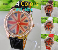 Wholesale new fashion women Quartz The Flag Rhinestone Synthetic Leather Bracelet Girl s Wrist Watch