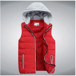 Wholesale New Men s Vest Hooded High Quality autumn Winter Men Outwears Warm Black blue red orange Cardigans casual Men sports waistcoat L XL XXL