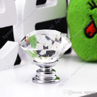 Cheap Wholesale - 10 Pcs 30mm Diamond Shape Crystal Glass Cabinet Knob Cupboard Drawer door Pull Handle TK0636