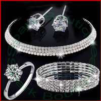 Wholesale 2015 Crystal Cubic Zirconia Ring Bracelet Earrings Necklace Bridal Jewelry Sets