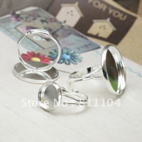 Connectors Jewelry Findings China (Mainland) 12mm Nickle Free Silver Plated Copper Blank Cap Tray Bases Y Finger Rings Settings 4 Diy Glass CABs Jewelry Findings Wholesale