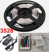 Holiday SMD 3528 Yes Pakage sale RGB 3528 SMD 60 LED Strip (Light&Adapter 12V 2A&Remote Control 24key) water-proof Free by China Post