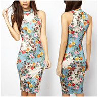 Wholesale 2014 New Summer Women fashion Casual Sleeveless Sexy printing Hang a neck package hip Dress High quality