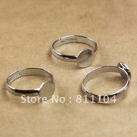 Connectors Jewelry Findings China (Mainland) 6mm Silver Plated Copper Blank Round Tray Cap Bases Adjustable Finger Rings Settings 4 Diy Glass CABs Jewelry Findings Wholesale