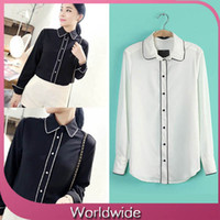 Polyester Chiffon Regular Women Summer Elegant Design Blouse Vintage White Black Full Sleeve Ladies Casual Chiffon Tops Free Shipping