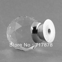 Door Handles   8 pieces lot 30mm Round Ball Glass Crystal Door Knob Handle Pull for Drawer Wardrobe Clear Clear Free shipping