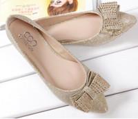 Wholesale Elegant glitter ballet flat heels with rhinstone bowtie dress shoes wedding shoes plus size women shoes size to