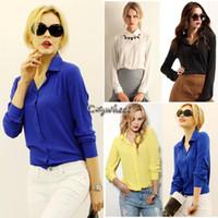 Polyester Chiffon Regular New 2014 Sexy Women Office Lady Chiffon Blouse Plus Size Long Sleeve Basic Lapel Loose 4 Colors S-XXL b4 SV000846