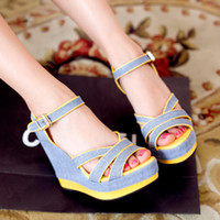 Women Spool Heel PU 2014 Summer New Women shoes Sandals Wedges Platforms Buckle Glitter Patchwork Red Yellow Sweets Fashion Size 35-39 QL4123