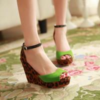 Women Spool Heel PU 2014 New Summer Women shoes Sandals Wedges Leopard Flock Red Green Black Buckle Peep toe Fashion Sexy Party QL4101