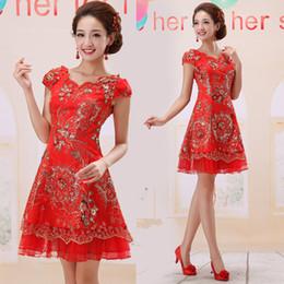 Wholesale Classic Cap Sleeve Sequins Embroidery Vintage Cheongsam Women Slim High Quality Brand New Fashion Bridesmaids Dresses