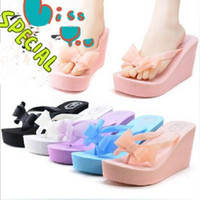 Beach beach slippers women - Colors New Fashion Women Summer Bow Bohemia High heeled Female Beach Flip Flops Slipper Anti slip Sandals