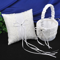 baskets set - Wedding Favors Wedding Party white small flowers Ring Pillows Flower Baskets ring pillow and girl s folwer baskets