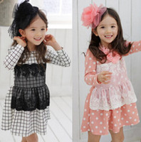 Wholesale New Korean Styles Long Sleeve Dot Plaid Lacework Dresses Baby Girl High Quanlity Sweety Girls Girl Dressy Child Children s Outfits J0568