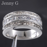 Wholesale Size Jenny G Jewelry White Sapphire Crystal Gemstone KT Gold Filled Band Ring for Men